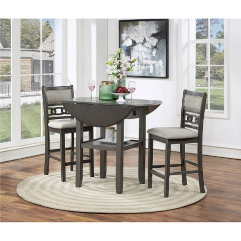 Gia 42-inch Dining Set w/ Drop Leaf Table & 2 Chairs, Gray, by New Classic Furniture