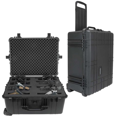 Elkton Outdoors Hard Gun Case With Retractable Handle & Wheels: Fully Customizable Pistol Case Holds 8 Pistols and 16 Magazines