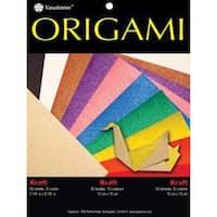 "Kraft W/Assorted Colors - Fold 'Ems Solid Origami Paper 5.875"" 50/Pkg"