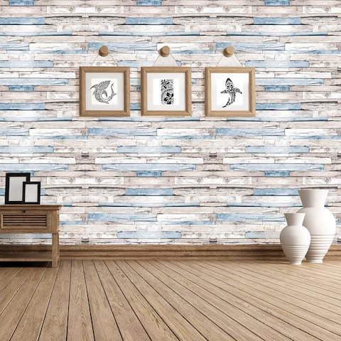 Walplus Brown Timber Strip Wall Sticker Peel and Stick Home Art Decor