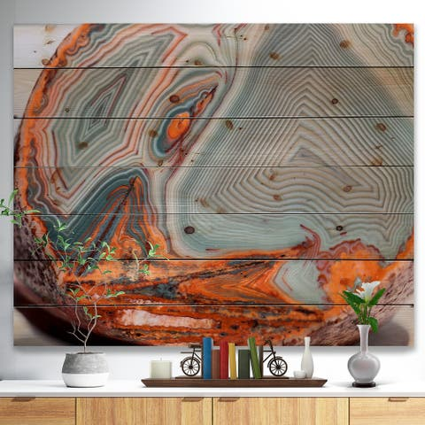 Designart 'Beautiful Lake Superior Agate' Abstract Print on Pine - Grey