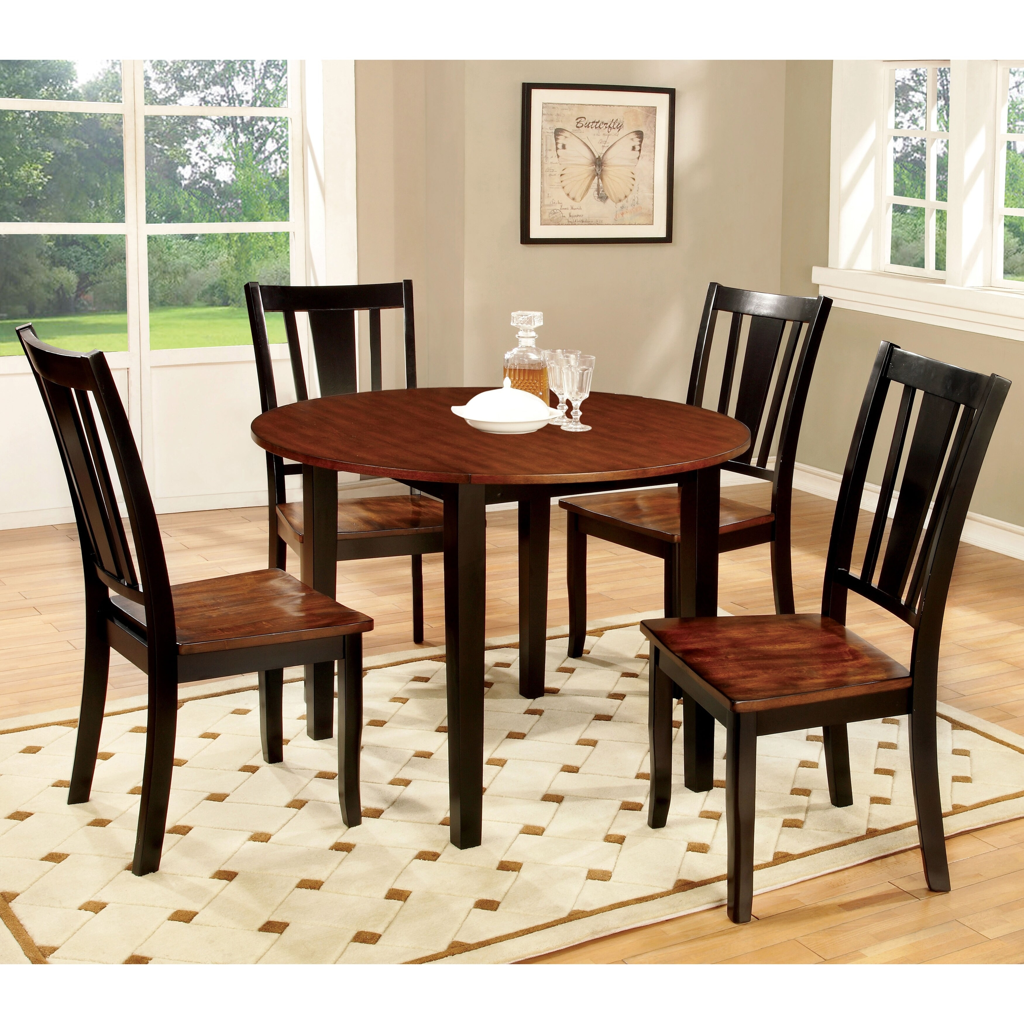 Furniture Of America Betsy Jane 5 Piece Country Style Round Dining Set Overstock 20831139