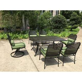 Moda Outdoor 7-piece All-weather Steel Patio Dining Set with Swivel Chairs