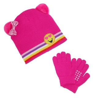 CTM® Girl's Emoji Hat with Grip Gloves Set
