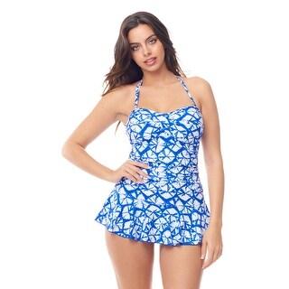 Sea Sand Swimwear Royal White Tie Dye Bandeau Twist Bra Swimdress
