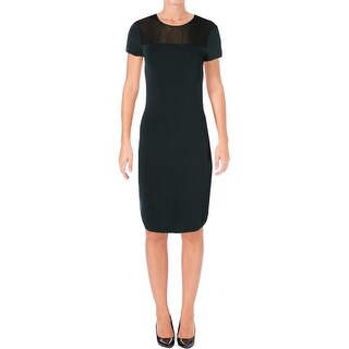 Lauren Ralph Lauren Womens Wear to Work Dress Mesh Inset Short Sleeves
