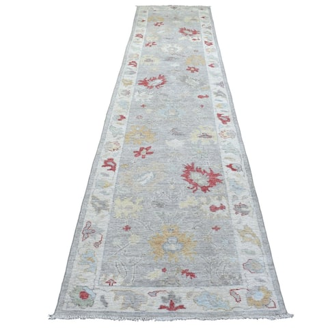 """Shahbanu Rugs Extra Soft Wool Gray Oushak with Pop of Red and Yellow Hand Knotted Oriental Wide Runner Rug (3'0"""" x 13'5"""")"""