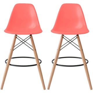 "2xhome Set of 2 28"" Plastic Eiffel Chairs Bar Stool Counter Stools With Back Shell Molded Natural Wood Side Kitchen Restaurant"