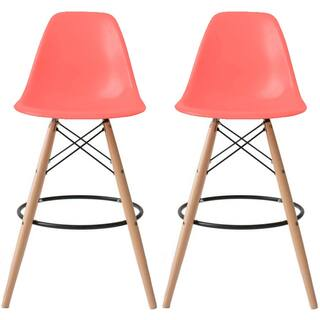 2xhome Set Of 2 25 Plastic Eiffel Chairs Bar Stool Counter Stools With Back Wood