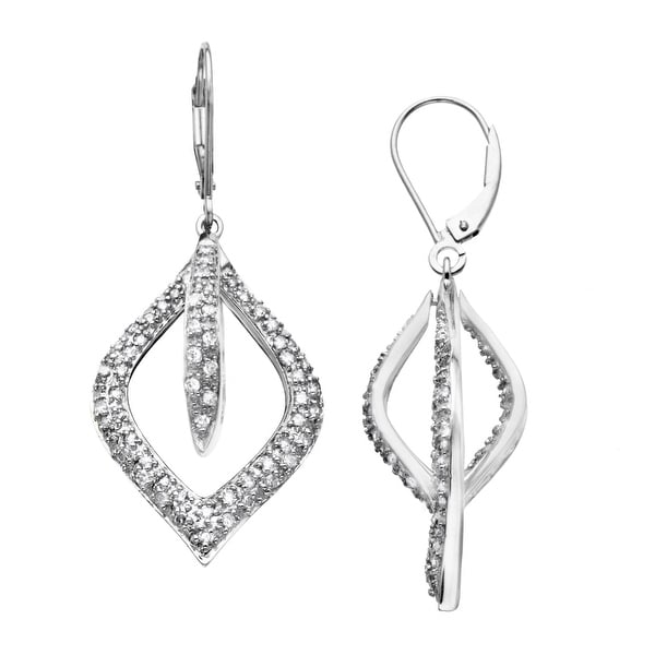 3/4 ct Diamond Open Marquis Drop Earrings in 14K White Gold
