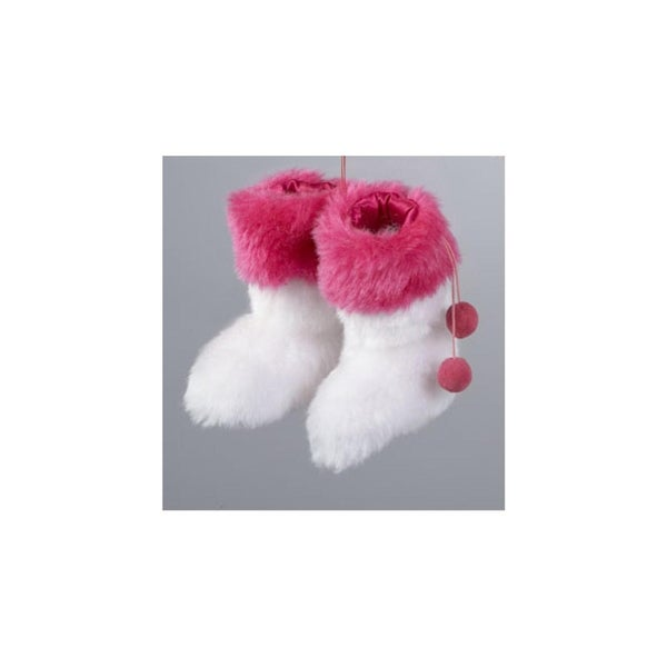 """4"""" Fashion Avenue White and Pink Fuzzy Rave Boots Christmas Ornament"""