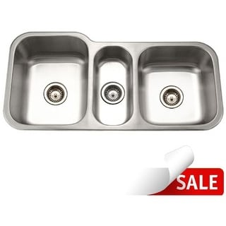 """Houzer MGT-4120 Medallion 39-7/8"""" Triple Basin Undermount 18-Gauge Stainless Steel Kitchen Sink with 40/20/40 Split - Basket"""