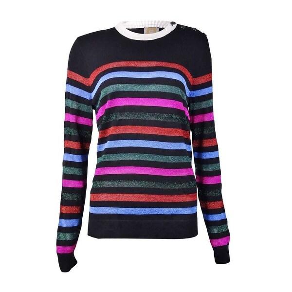 Anne Klein Women's Horizontal Metallic Stripe Sweater - tuscan combo - l