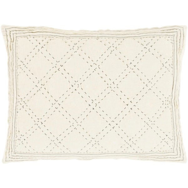 "26"" Quilted Elegance Captain White and Platinum Gray Cotton Standard Sham"