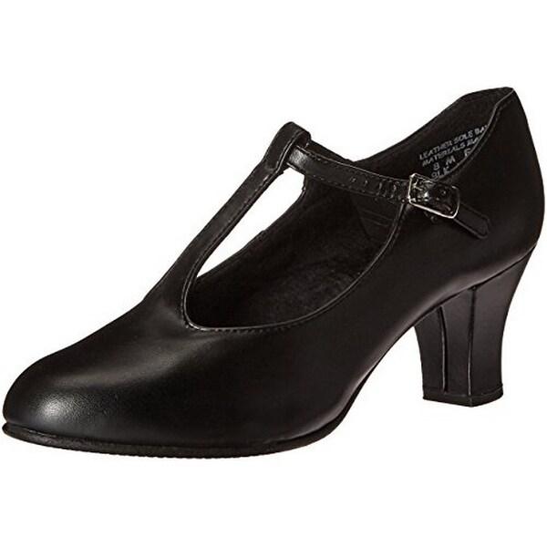 Capezio Womens Jr. Footlight T-Strap Character Shoe, Black, 8M