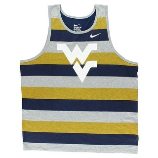 Nike Mens West Virginia University Team Tank Top Heather Grey - heather grey/navy blue/yellow/white - XXL