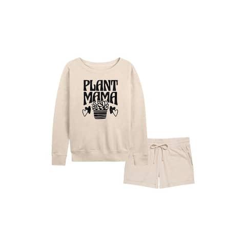 Plant Mama - Women's French Terry Shorts Set - Birch