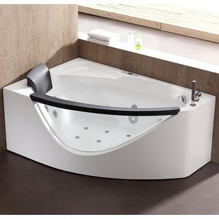 "Eago AM198ETL-R  39-2/5"" Soaking Bathtub for Corner Installations with Right Drain and MaxLoad - White"