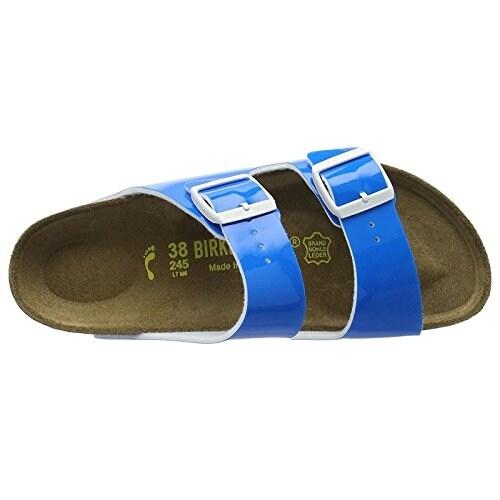 Birkenstock Womens Arizona Sandal Neon Blue Patent Birko-Flor -5-5.5 N US Women