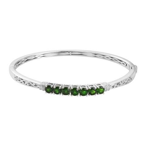 Chrome Diopside Bangle Cuff Bracelet Size 7.25 Inch 7.25 Inch Ct 2.5 - Bracelet 7.25''
