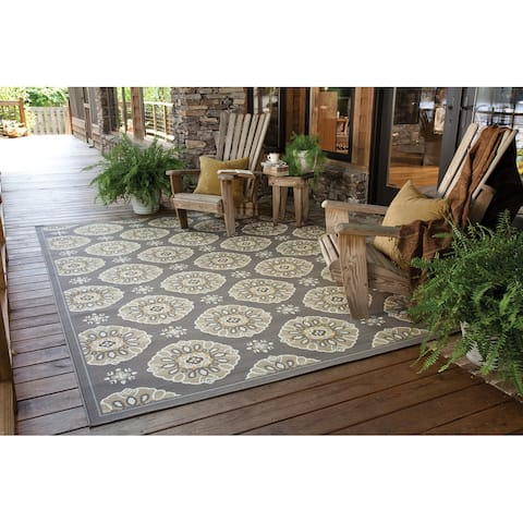 """Bradford 7'10"""" Outdoor/Casual Floral Abstract Round Area Rug"""