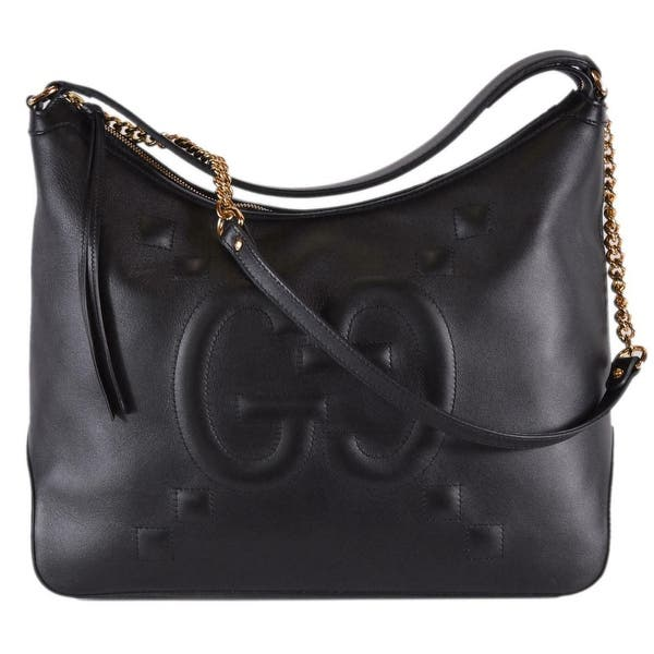 Gucci 474988 Black Leather Gg