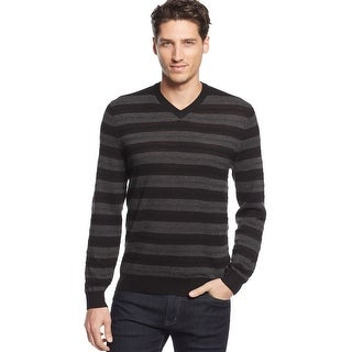 Club Room Big and Tall Merino Wool Blend Striped V-Neck Sweater Deep Black XLT