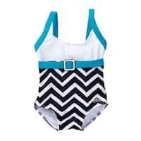 Azul Baby Girls Blue White Chevron Stripe Jagged Edge One Piece Swimsuit - 18 months