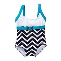 Azul Little Girls Blue White Chevron Jagged Edge One Piece Swimsuit