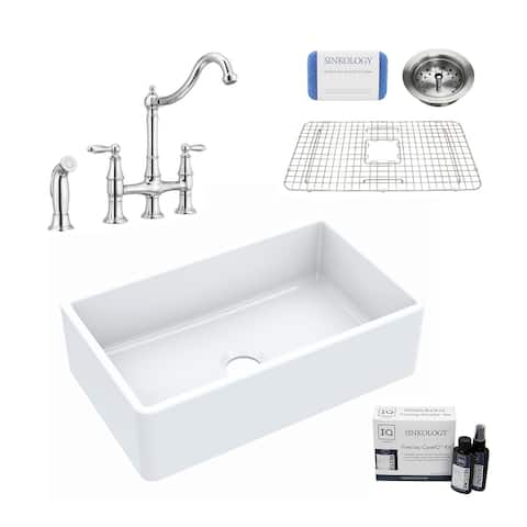 Turner All-in-One Farmhouse Apron Front Fireclay 30 in. Single Bowl Kitchen Sink with Pfister Bridge Faucet in Chrome and Drain