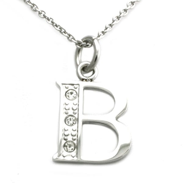 Stainless Steel Alphabet Initial Pendant w/ CZ Stones - Letter B - 18 inches