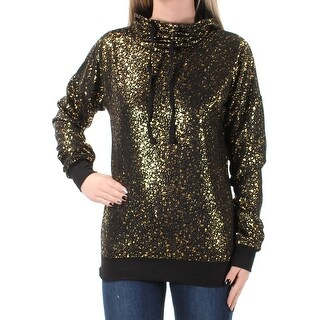 Womens Black Speckle Long Sleeve Turtle Neck Casual Top Size 2XS