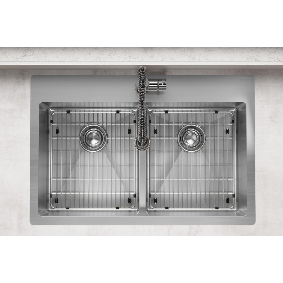 Elkay Crosstown 18 Gauge Stainless Steel 33 X 22 X 9 Equal Double Bowl Dual Mount Sink Kit With Aqua Divide Overstock 30533364