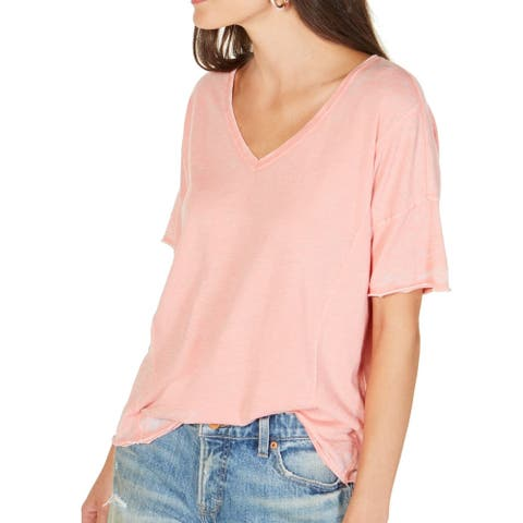 Lucky Brand Women's Top Coral Pink Size Small S Knit V Neck T-Shirt