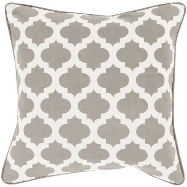 "18"" Gray and Ivory Mesmerizing Morrocan Decorative Throw Pillow - Down Filler"