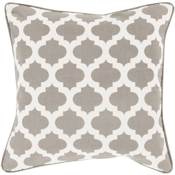 """20"""" Gray and Ivory Mesmerizing Morrocan Decorative Throw Pillow - Down Filler"""