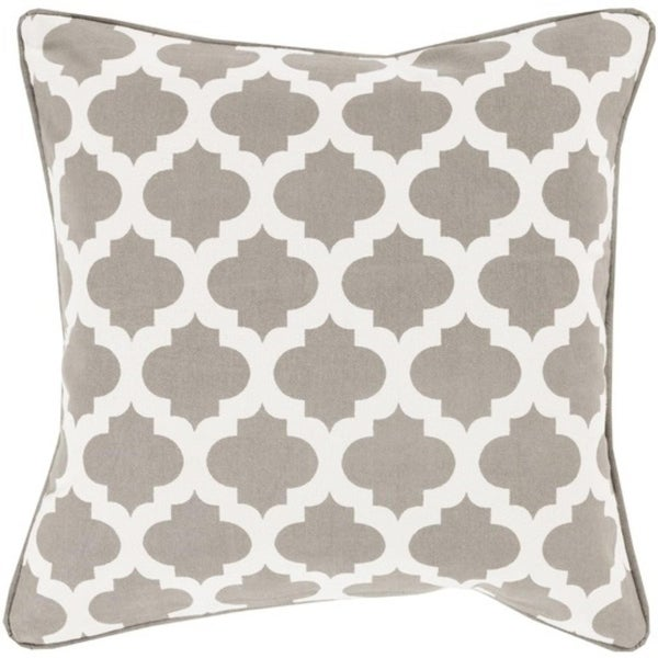 "22"" Gray and Ivory Mesmerizing Morrocan Decorative Throw Pillow"