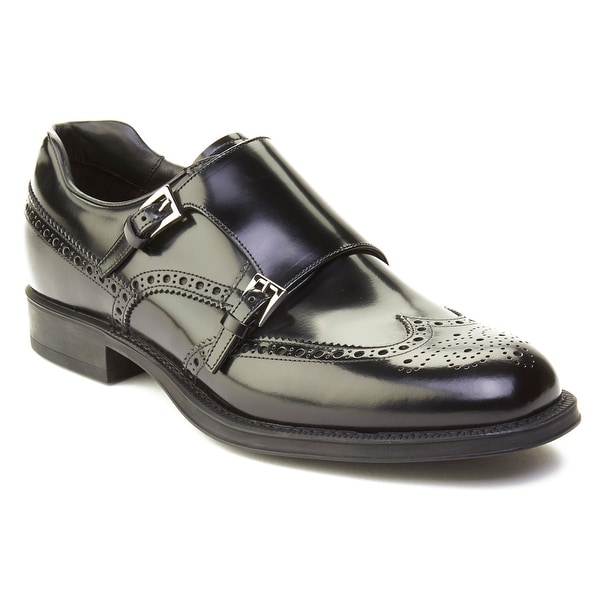 Prada Men's Leather Crossed Monkstrap Brogue Dress Shoes Black