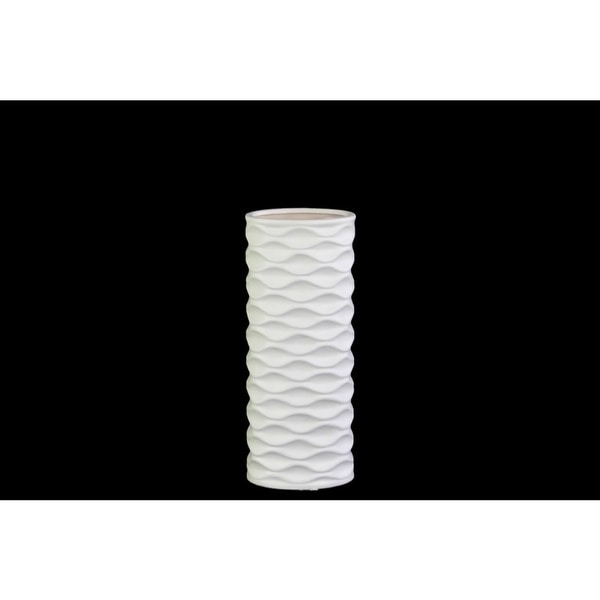 Cylindrical Ceramic Vase With Horizontally Embossed Wavy Pattern, Small, White