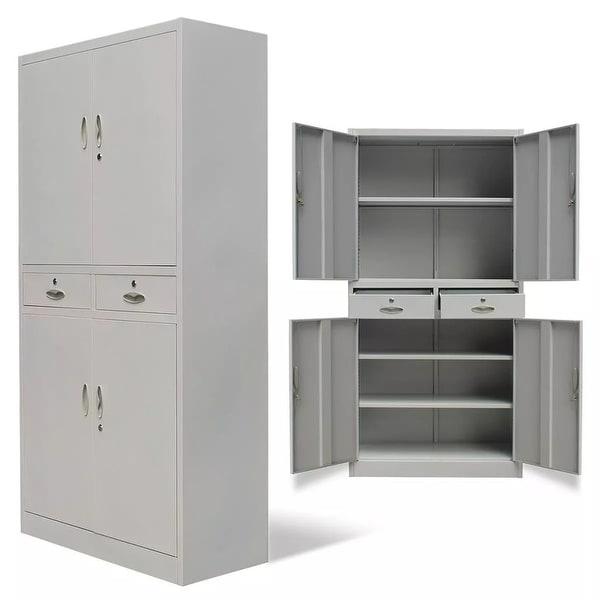 N VidaXL Metal Office Cabinet 4 Doors 2 Drawers Gray