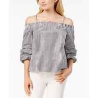 BCX Gray Women's Off Shoulder Striped Puffed-Sleeve Blouse