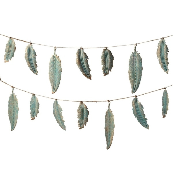 """Pack of 4 Metallic Stamped Copper Patina Decorative Feather Garland 72"""""""