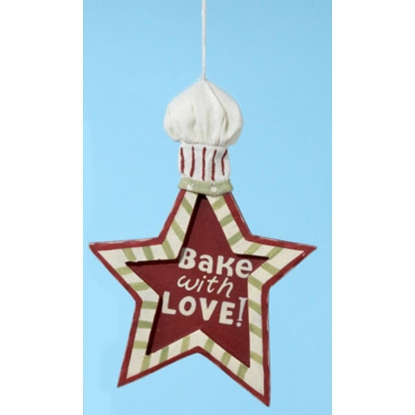 "Mom's Kitchen Bake with Love Star Shape Chef Hat Christmas Ornament 6"" - RED"