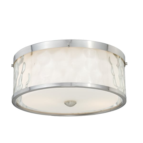 """Vaxcel Lighting C0045 Vilo 2-Light Flush Mount Indoor Ceiling Fixture with Clear Water Glass Outer Shade - 12"""" Wide"""