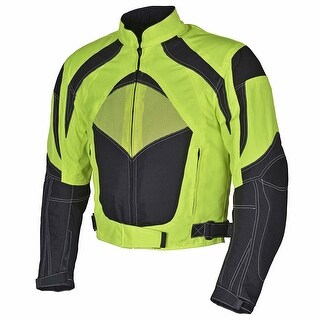 Men Motorcycle Textile Jacket WaterProof with CE Protection Neon Green
