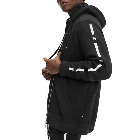 Tommy Hilfiger Mens Sweatshirt Ribbed Trim Fleece - Black - XL