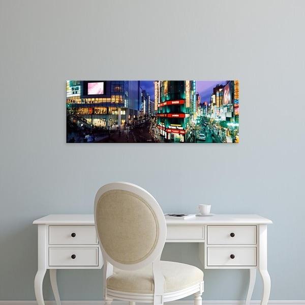 Easy Art Prints Panoramic Image 'Buildings lit up, Shinjuku Ward, Tokyo Prefecture, Kanto Region, Japan' Canvas Art