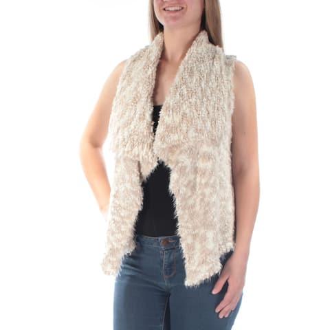 KENSIE Womens Beige Faux Fur Sleeveless Open Vest Sweater Size: XS