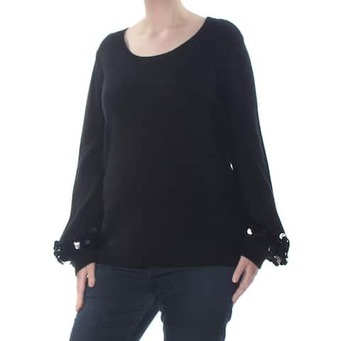 MICHAEL KORS Womens Black Sequin Cuff Long Sleeve Sweater Size: XXL