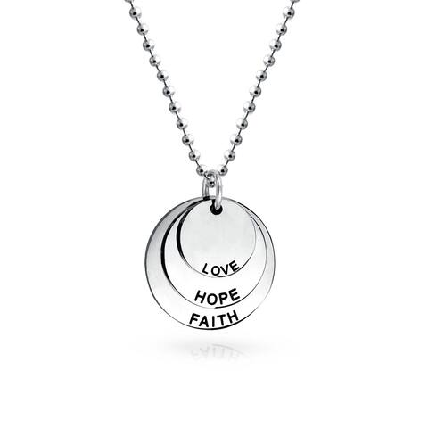 Faith Hope Love Dog Tag Circle Disc Pendant Necklace Stainless Steel